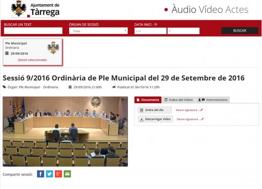Video actas Ayuntamiento Tárrega