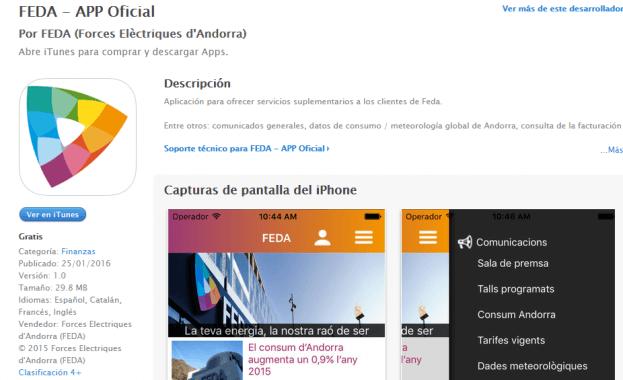 Imatge de App mòbil - Forces elèctriques d'Andorra (FEDA)