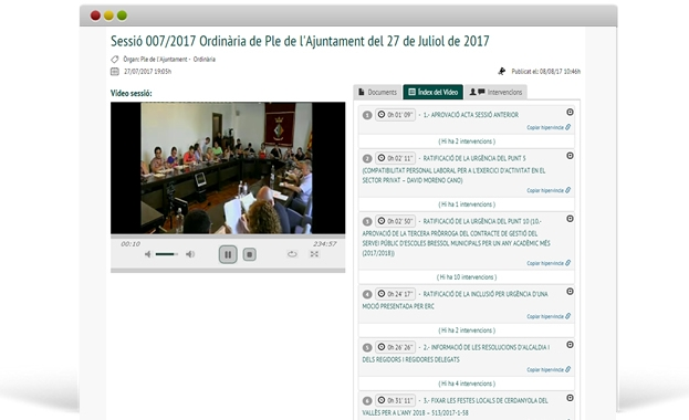 Audiovídeo Actas Ayuntamiento de Cerdanyola del Vallés Vista Vídeo