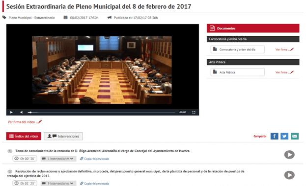 Audiovídeo Actas Ayuntamiento de Huesca Vista Video