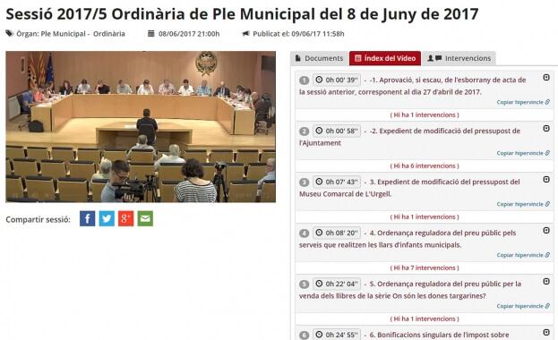 Audio Video Actas Ayuntamiento de Tàrrega Vídeo