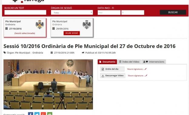 Audio Video Actas Ayuntamiento de Tàrrega